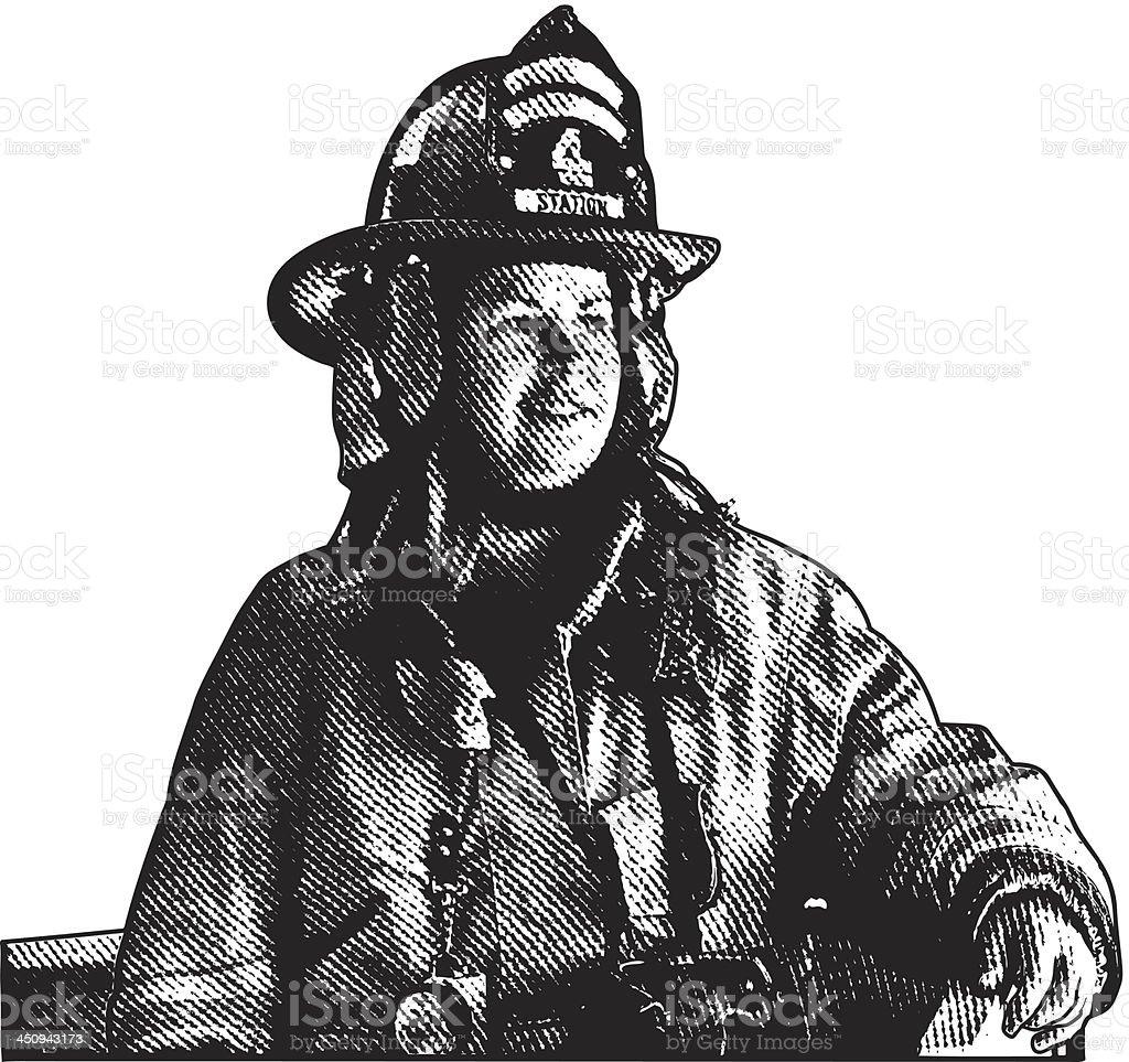 Female Firefighter royalty-free stock vector art