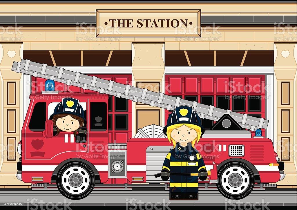 Female Fireman and Fire Engine Scene vector art illustration