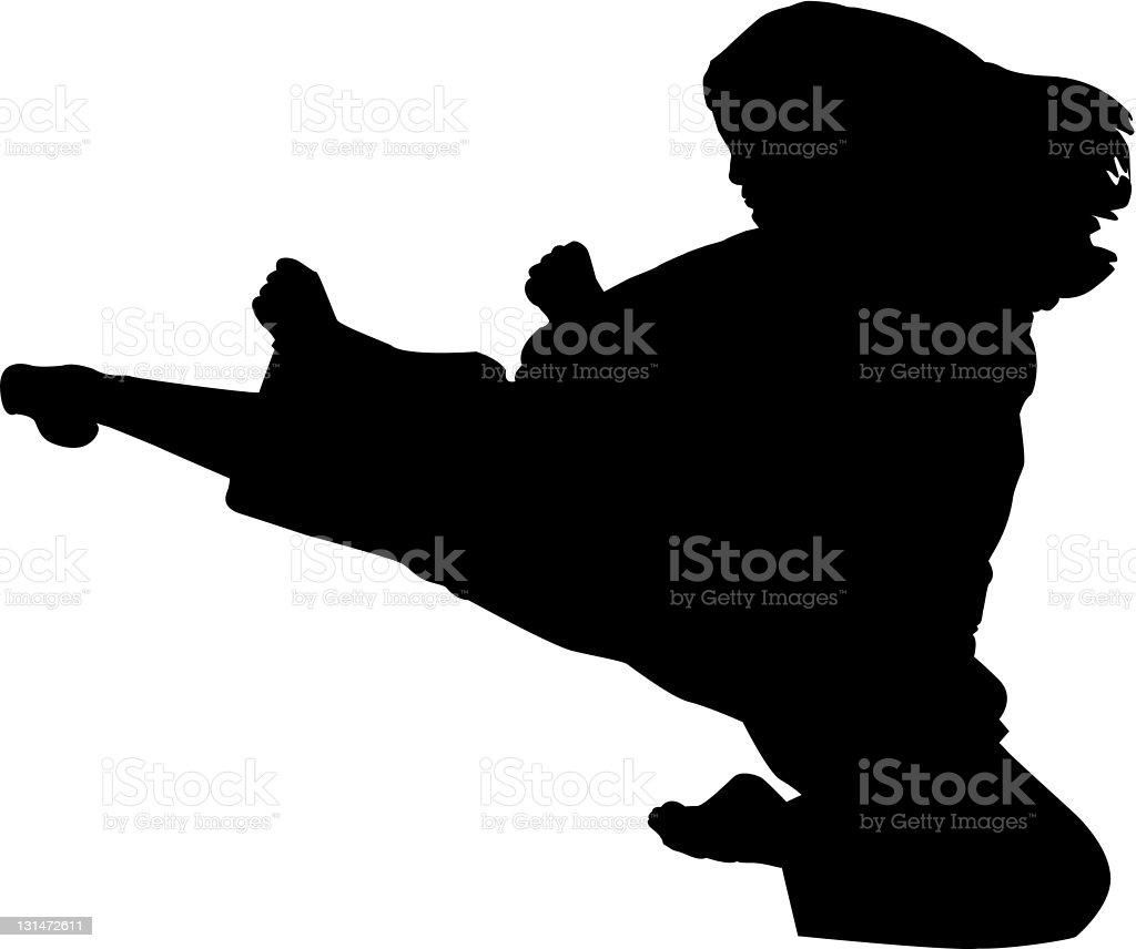 Female Flying Sidekick (Vector) vector art illustration