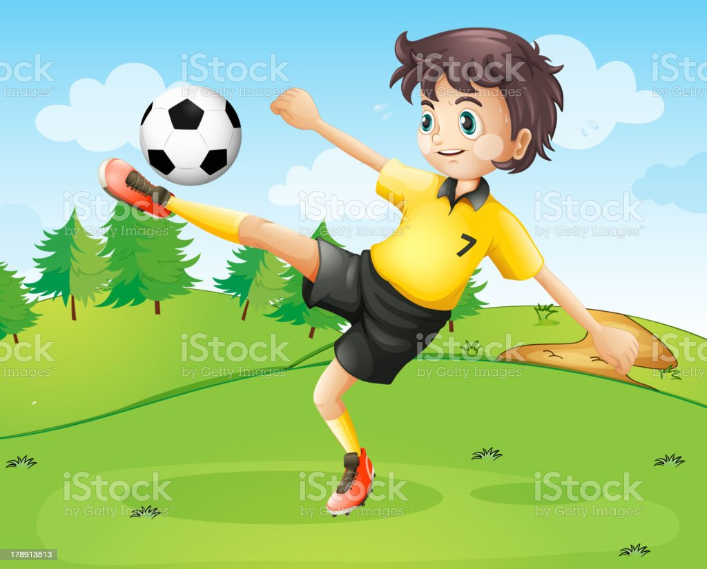 female football player in her yellow uniform royalty-free stock vector art