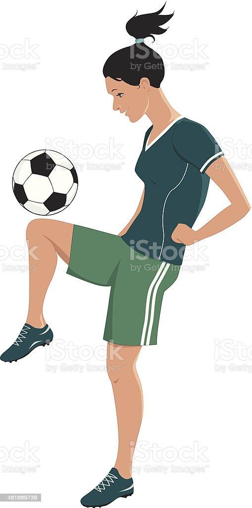 Female football player vector art illustration