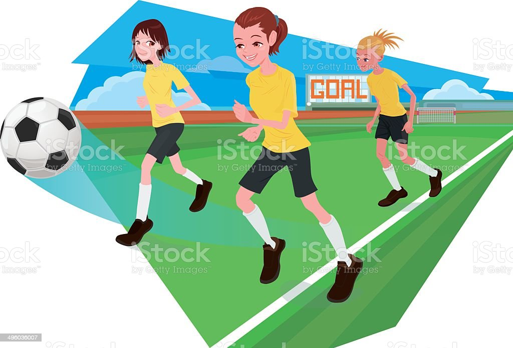 Female football players with background royalty-free stock vector art