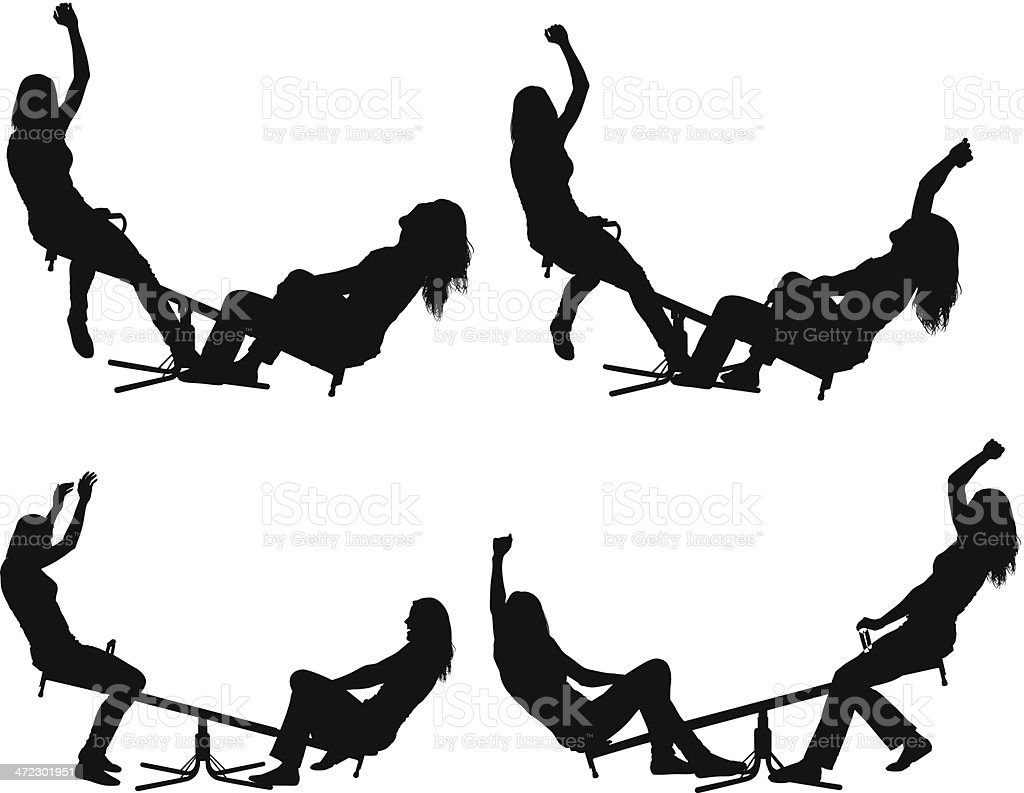 Female friends playing on seesaw royalty-free stock vector art