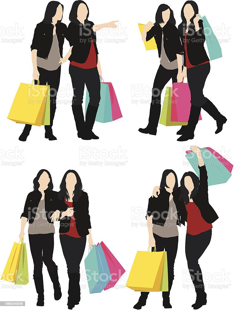 Female friends with shopping bags royalty-free stock vector art