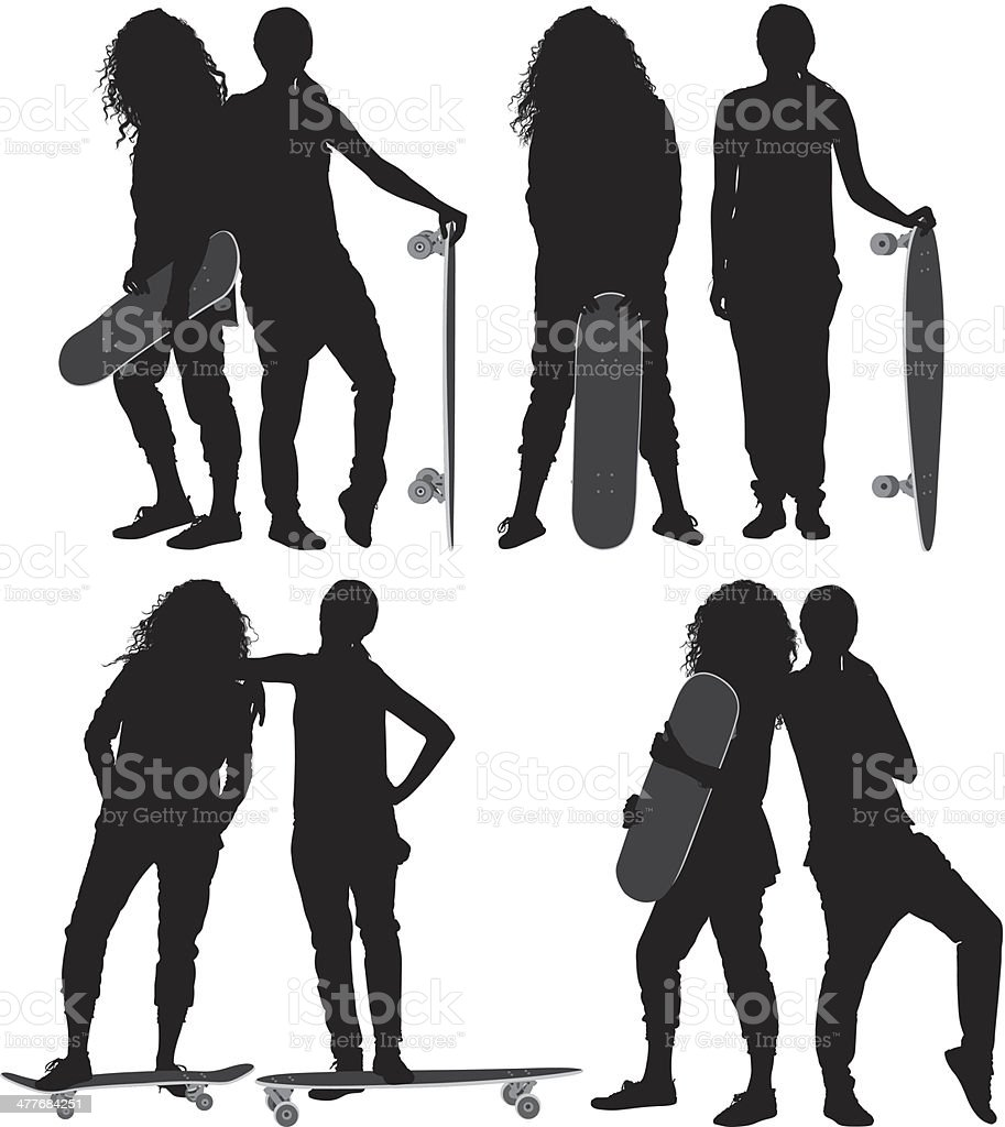 Female friends with skateboard royalty-free stock vector art