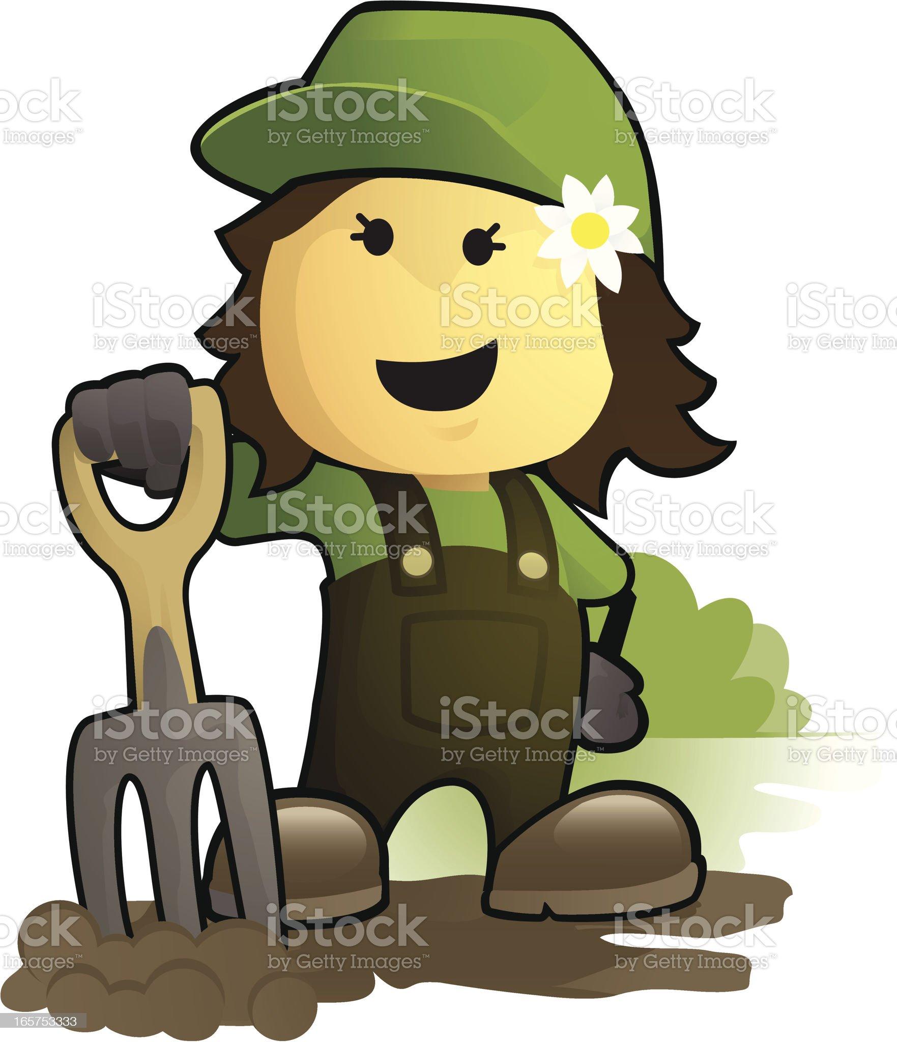 Female Gardener & Garden Fork royalty-free stock vector art