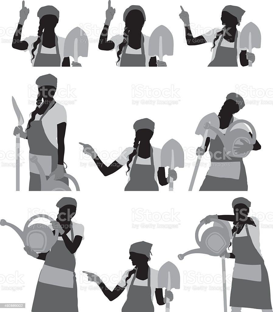 Female gardener in various actions vector art illustration