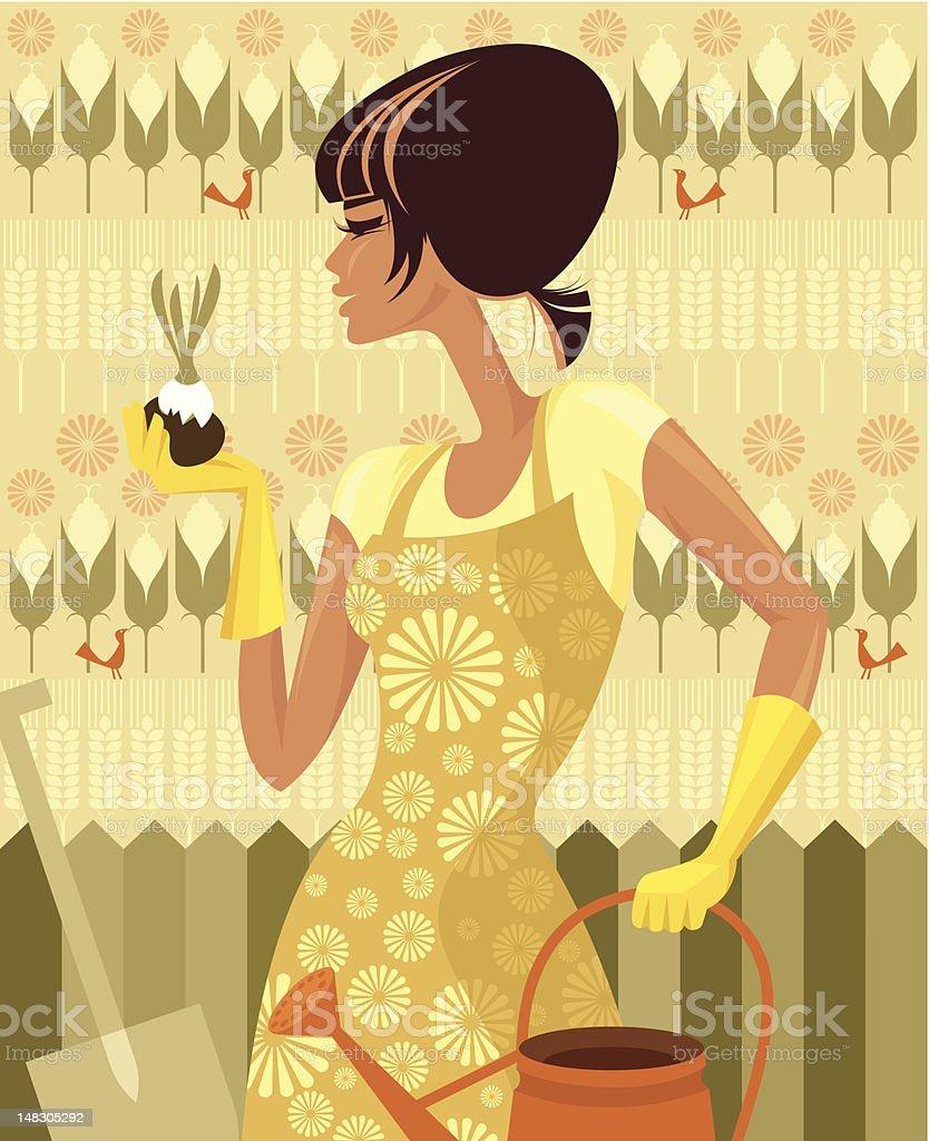 Female gardener. vector art illustration
