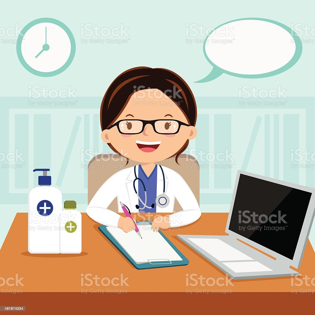 Female general practitioner vector art illustration