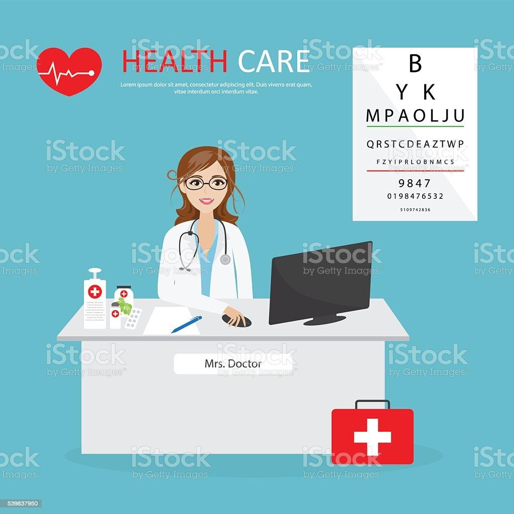 Female general practitioner. Vector illustration of a smiling do vector art illustration