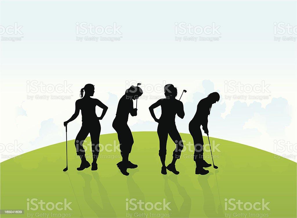Female Golfers - Vector vector art illustration