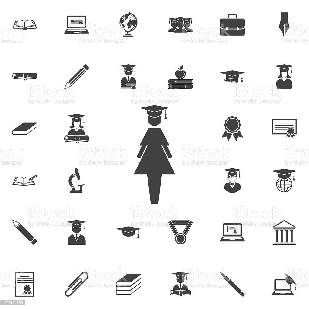 Female Graduate icon vector art illustration
