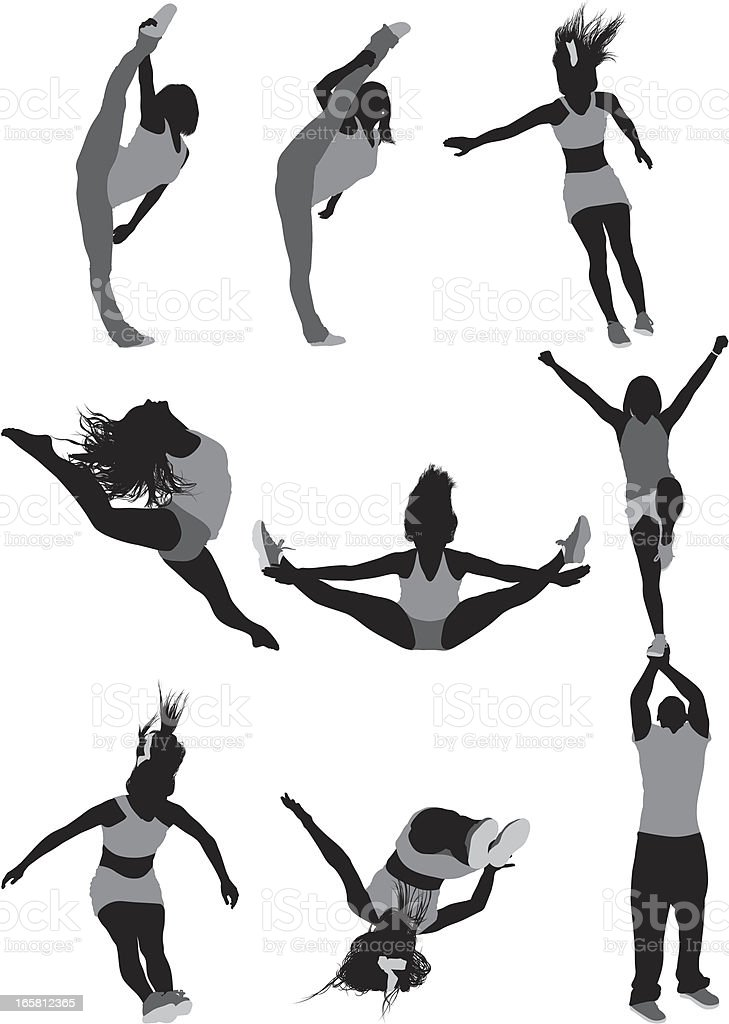 Female gymnast in action vector art illustration