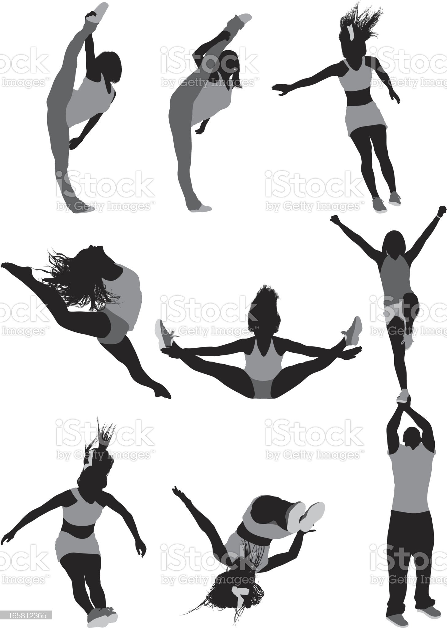 Female gymnast in action royalty-free stock vector art