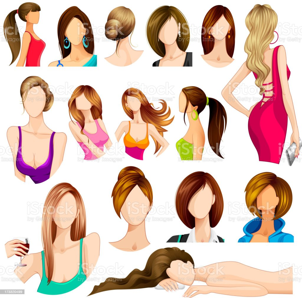 Female Hair Style royalty-free stock vector art