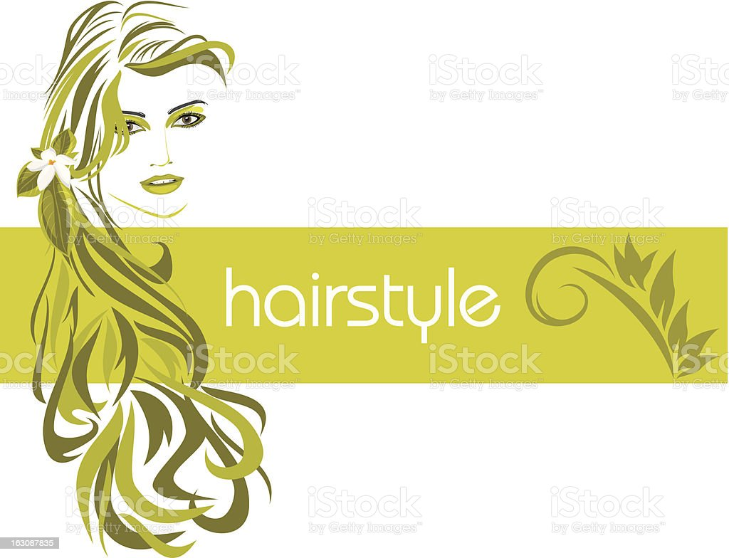 Female hairstyle. Decorative banner vector art illustration