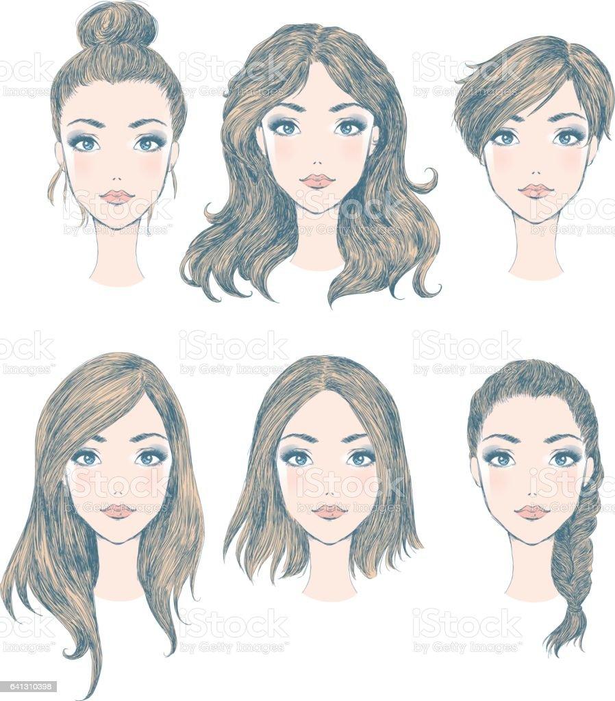 Female hairstyles vector art illustration