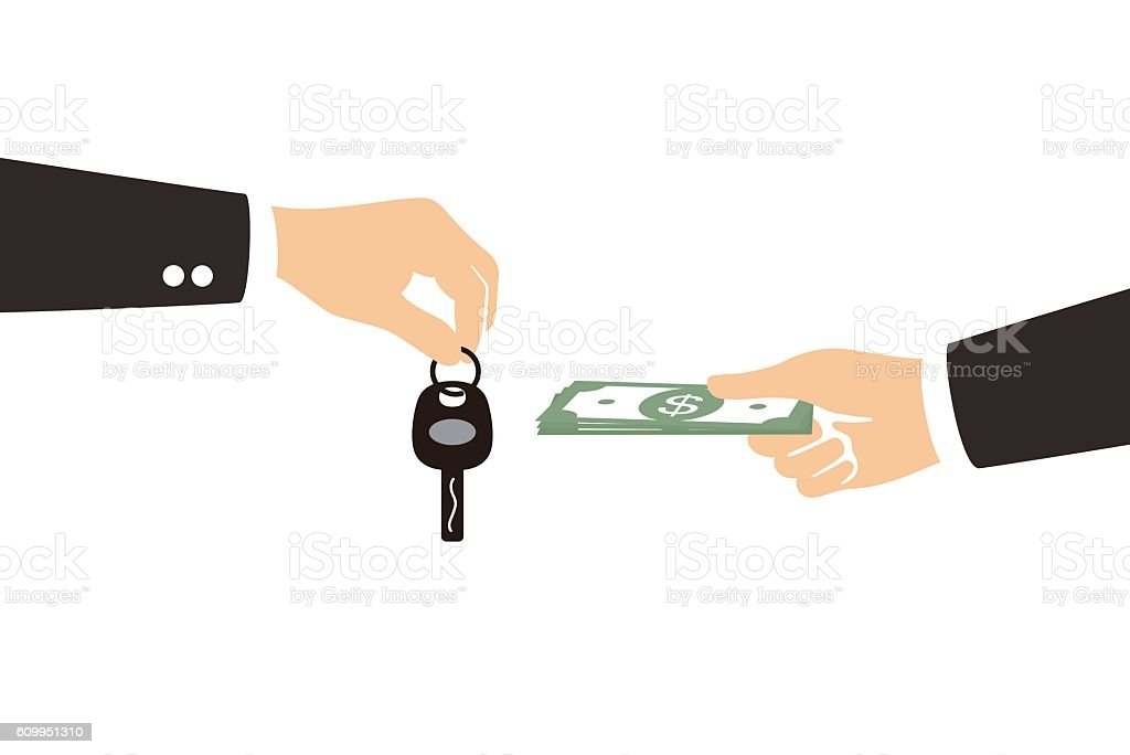 female hand giving money and receiving car keys from seller vector art illustration
