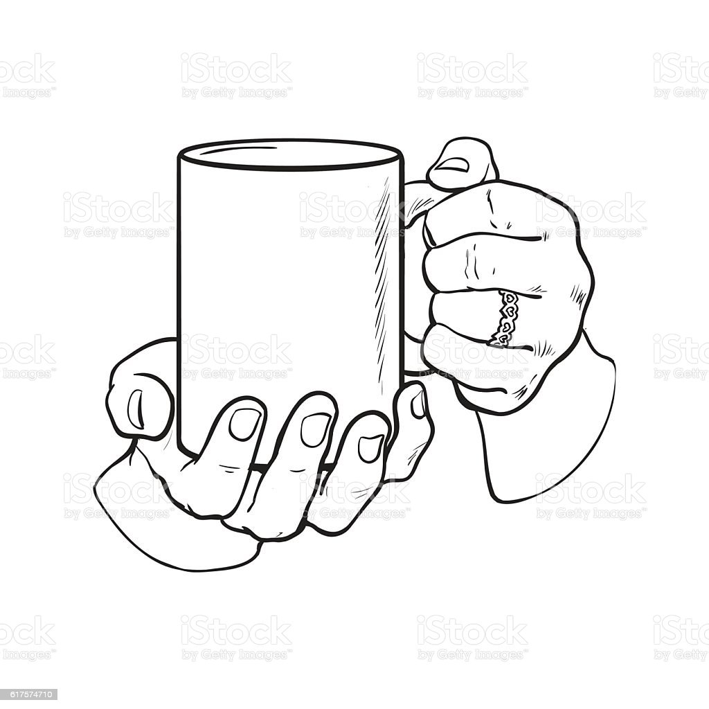 female hand holding a cup with hot beverage vector art illustration