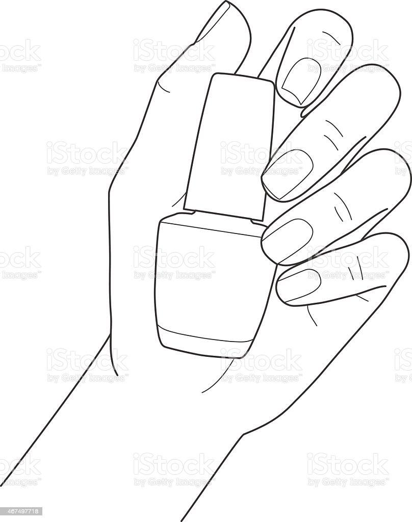 Mãos femininas com manicure com esmalte vetor e ilustração royalty-free royalty-free