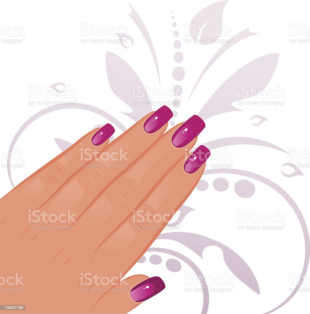 Female hand with pink finger nails royalty-free stock vector art