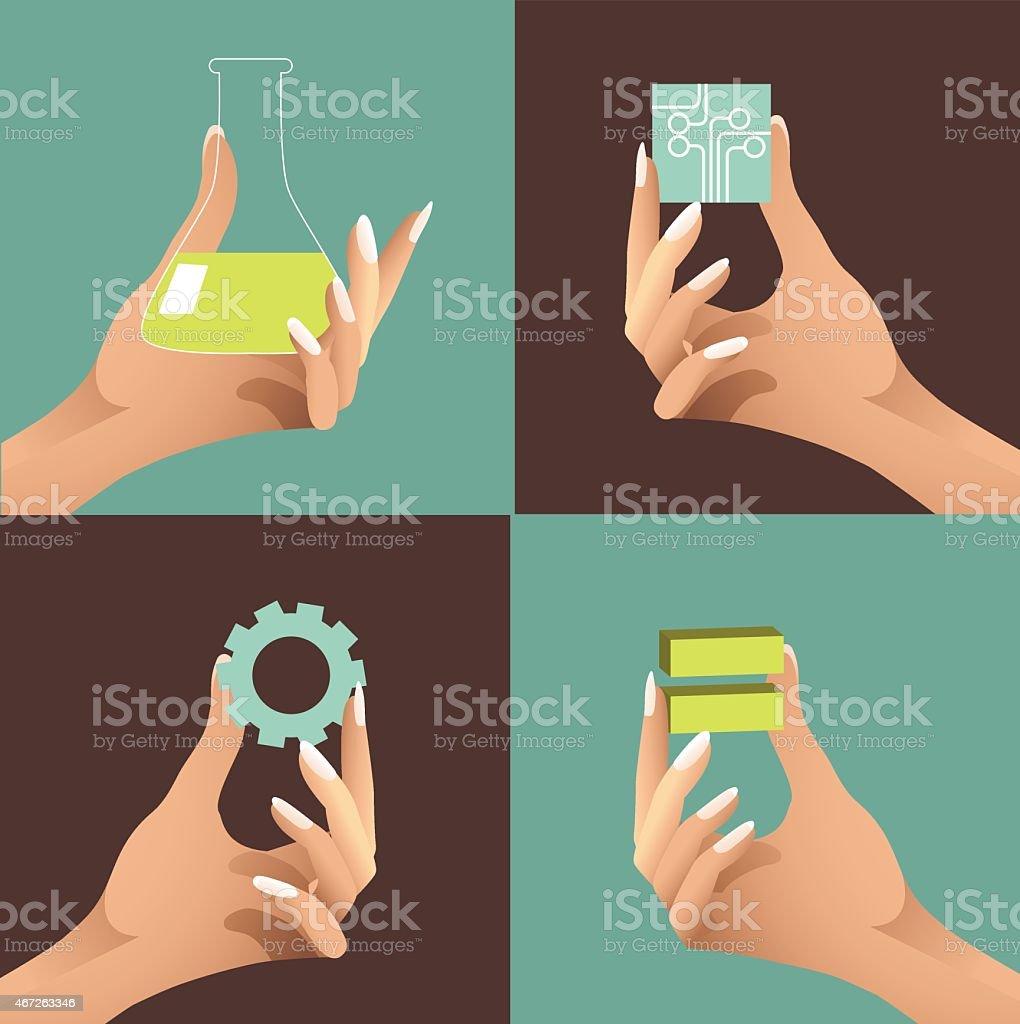 Female hands holding STEM icons. EPS10 vector vector art illustration