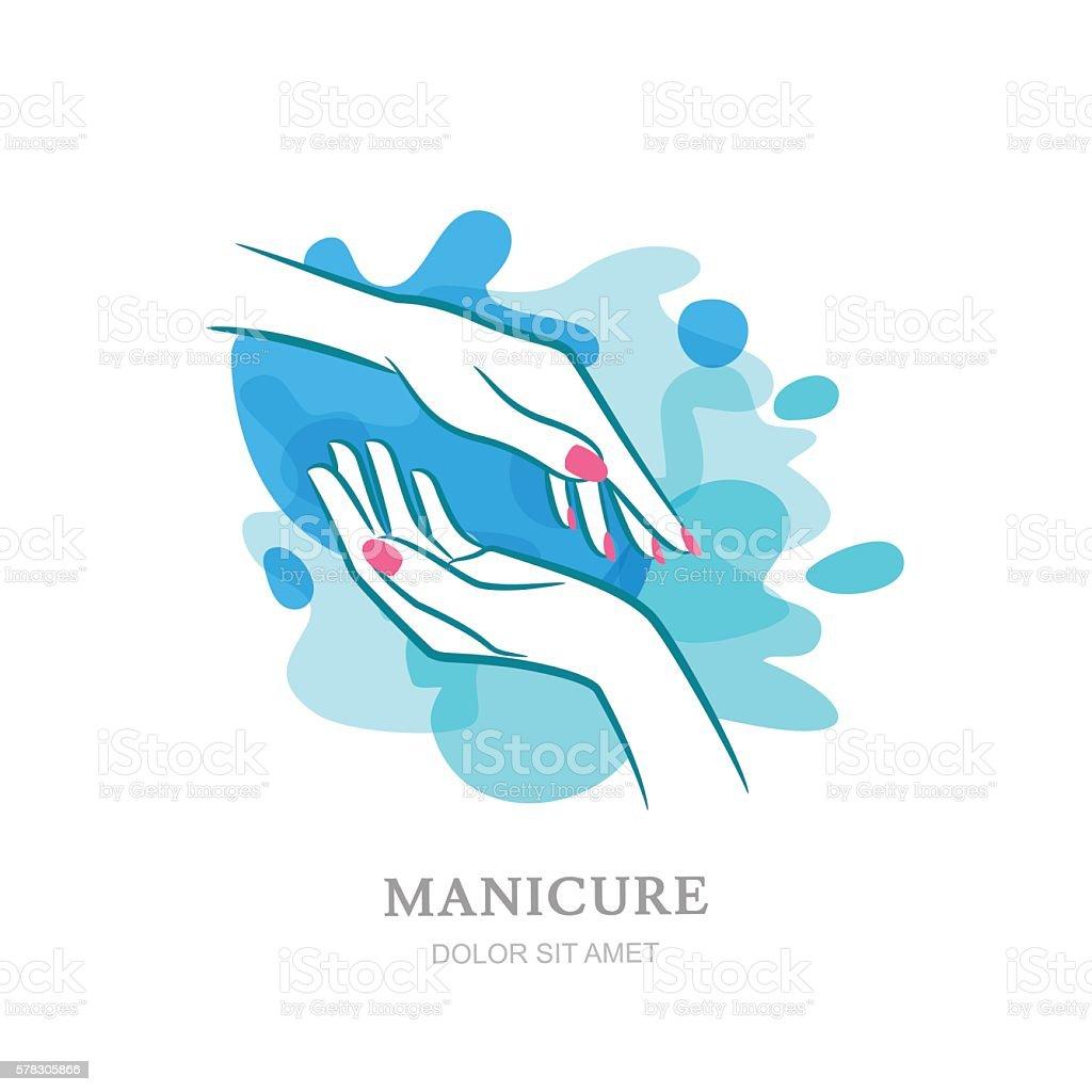 Female hands in clean water splash. Vector label, emblem design. vector art illustration