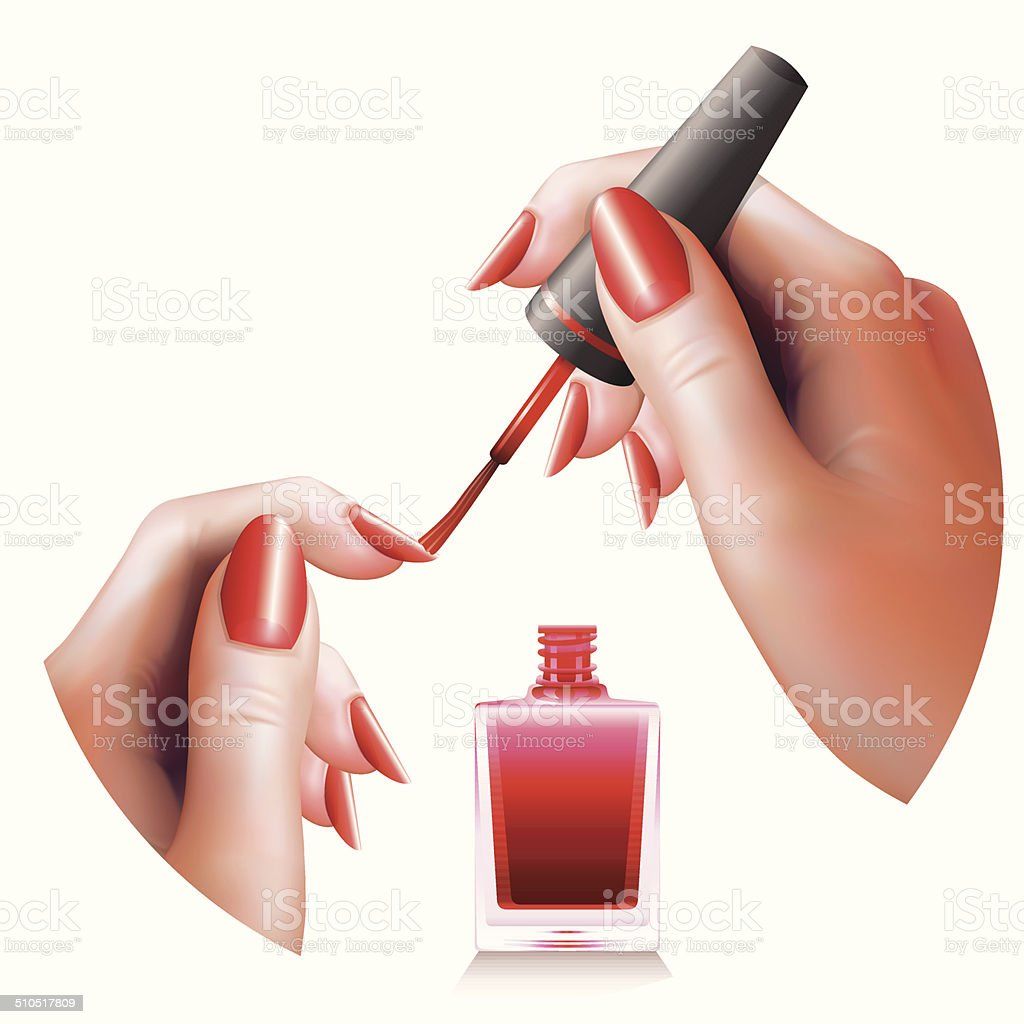 Female Hands Manicure vector art illustration