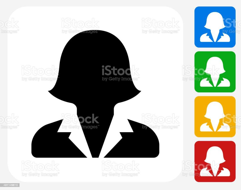 Female Headshot Icon Flat Graphic Design vector art illustration