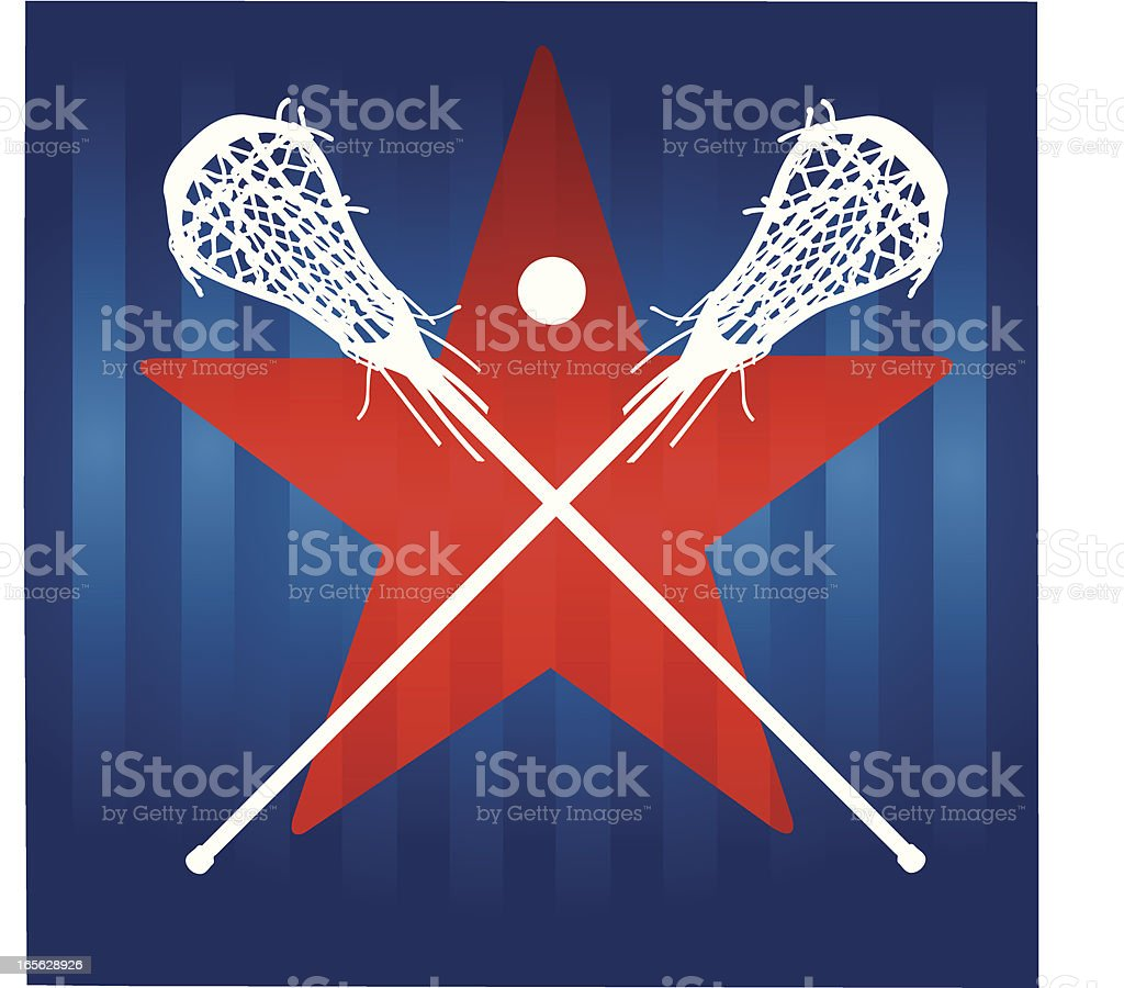 Female Lacrosse Sticks with Star Background royalty-free stock vector art