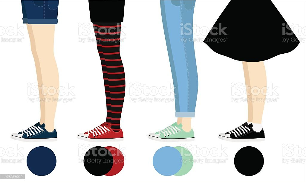 Female legs with gumshoes assortment vector art illustration