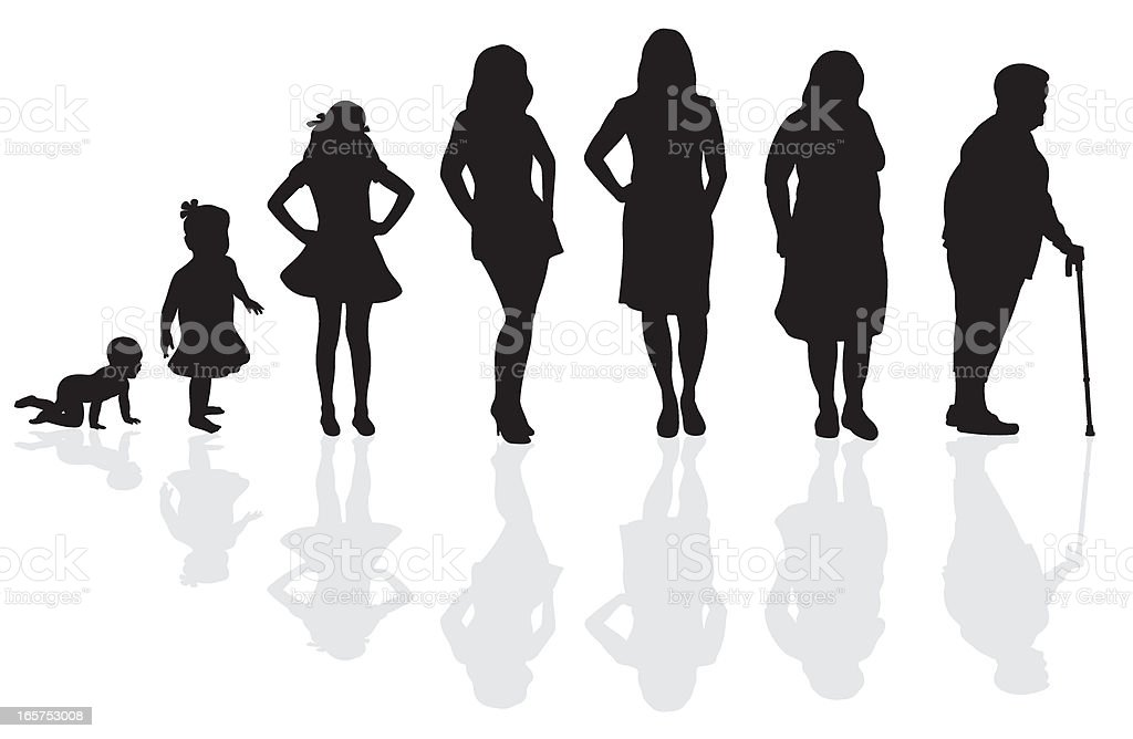 Female Life Cycle Silhouette vector art illustration