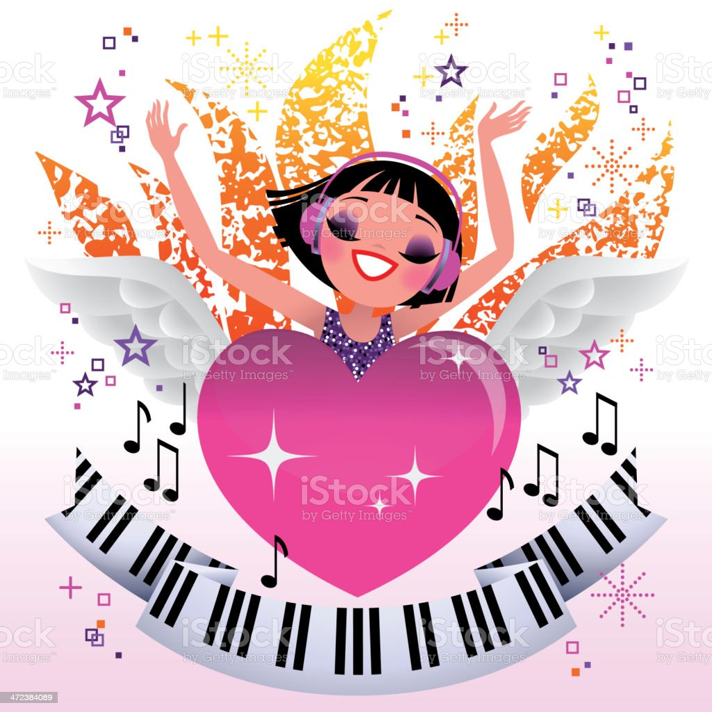 Female listening to music. Jacks - youth culture concept design royalty-free stock vector art