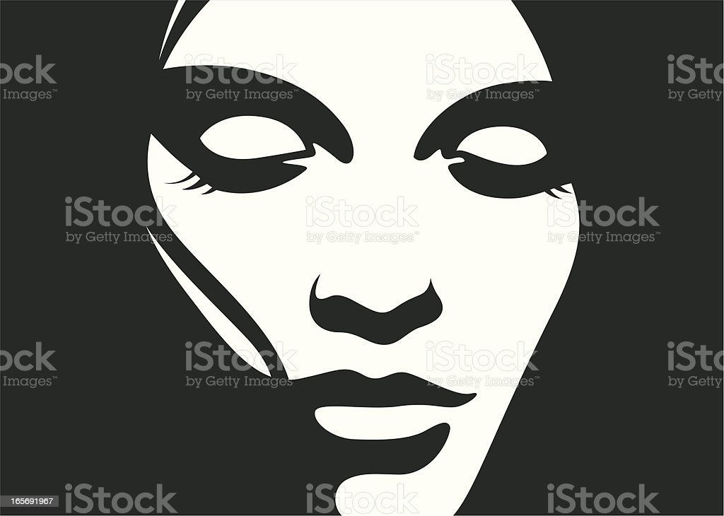 Female looking down. royalty-free stock vector art