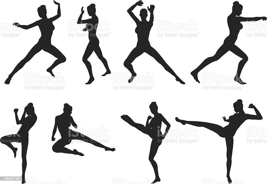 Female Martial Arts vector art illustration