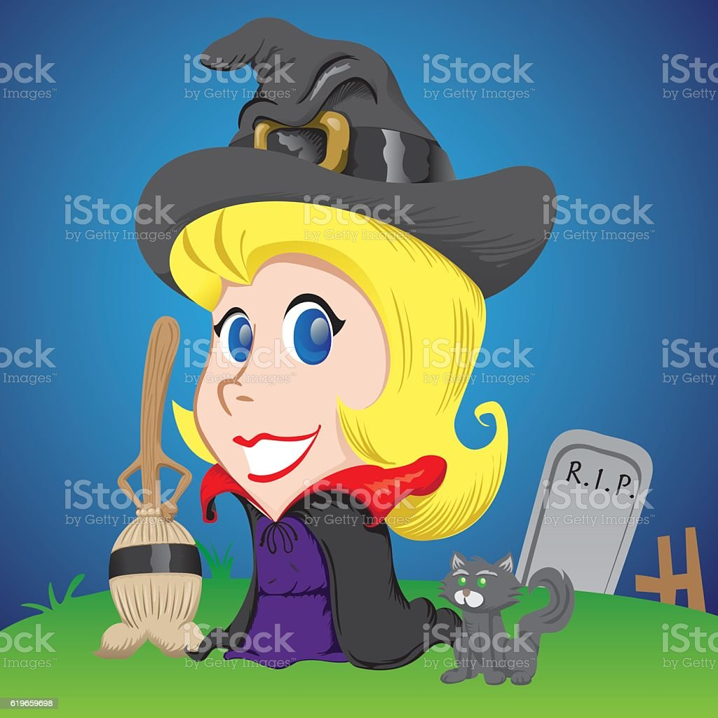 female mascot, blonde girl witch with broom and black cat vector art illustration