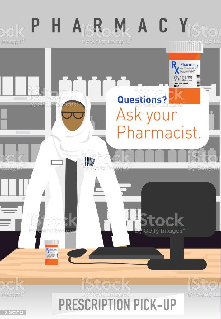 Female muslim Pharmacist with hijab vector art illustration