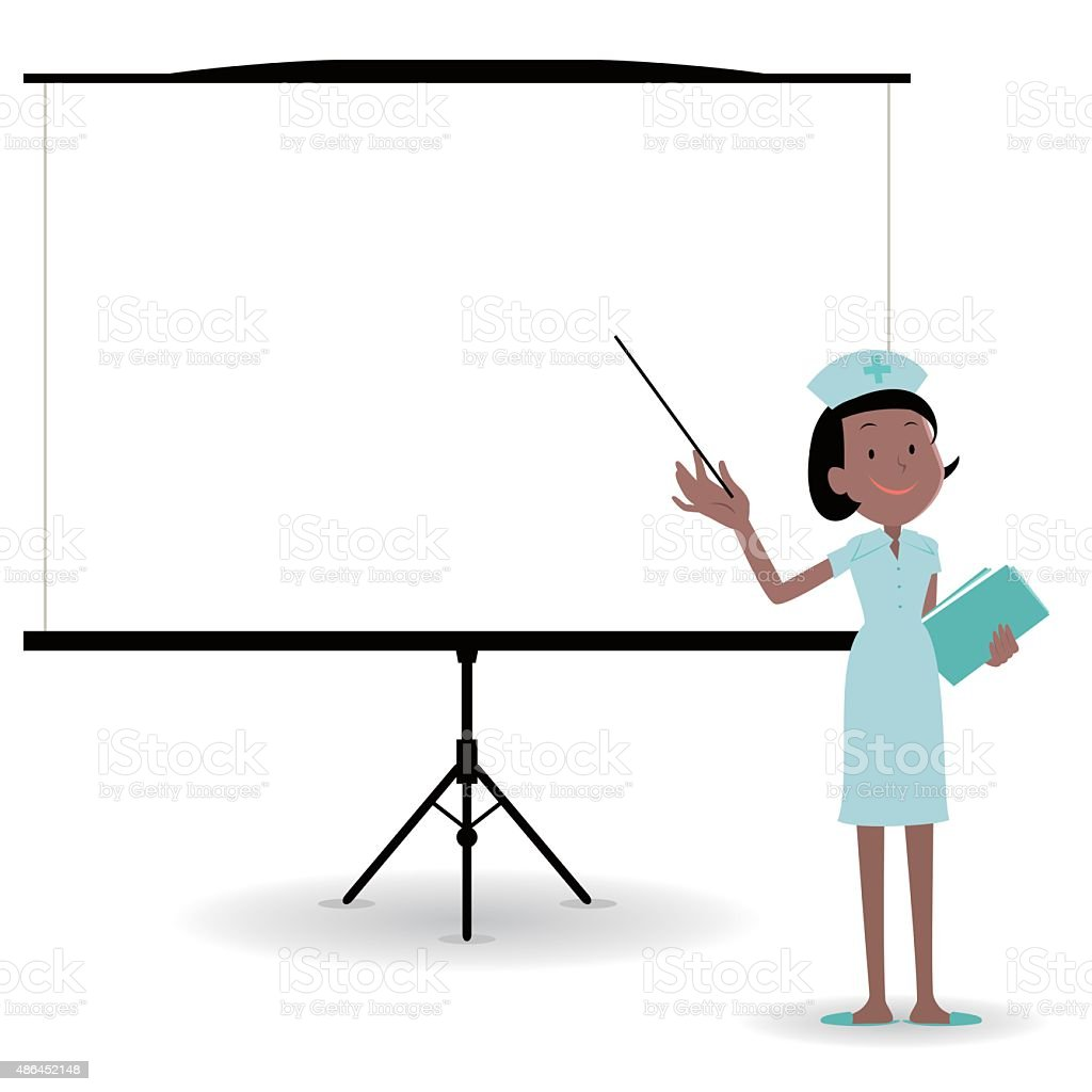 female nurse giving a presentation in a conference/meeting setting vector art illustration
