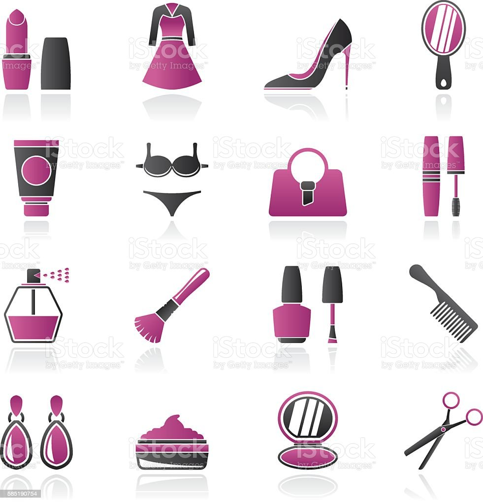 female objects and accessories icons vector art illustration