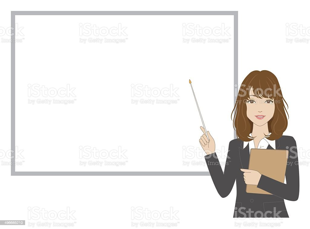Female office worker holding a pointer vector art illustration