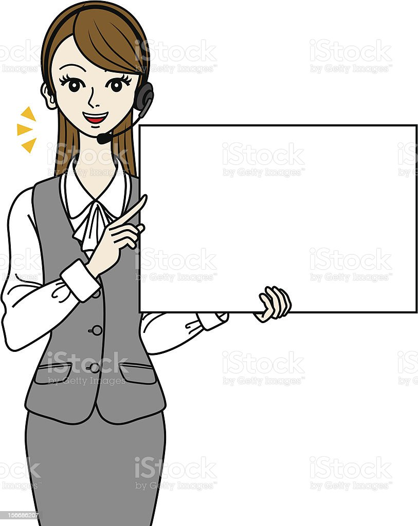 Female operator with Whiteboard royalty-free stock vector art