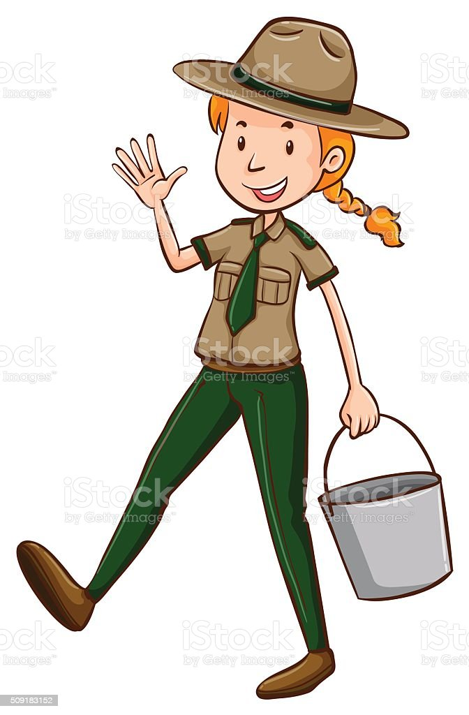 Female park ranger holding bucket vector art illustration