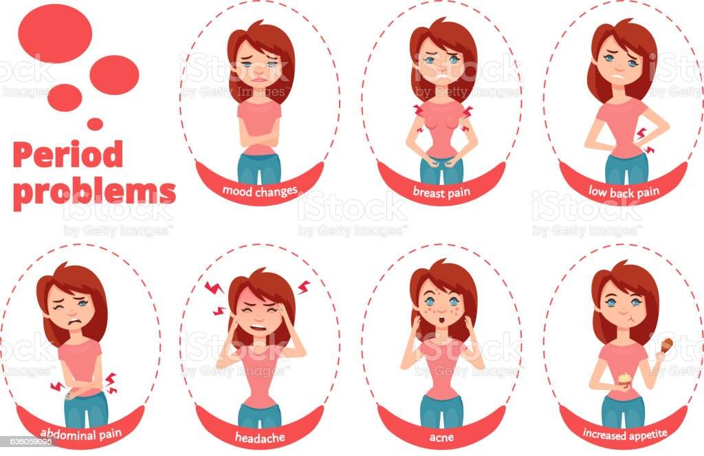 Female period problems illustration vector art illustration