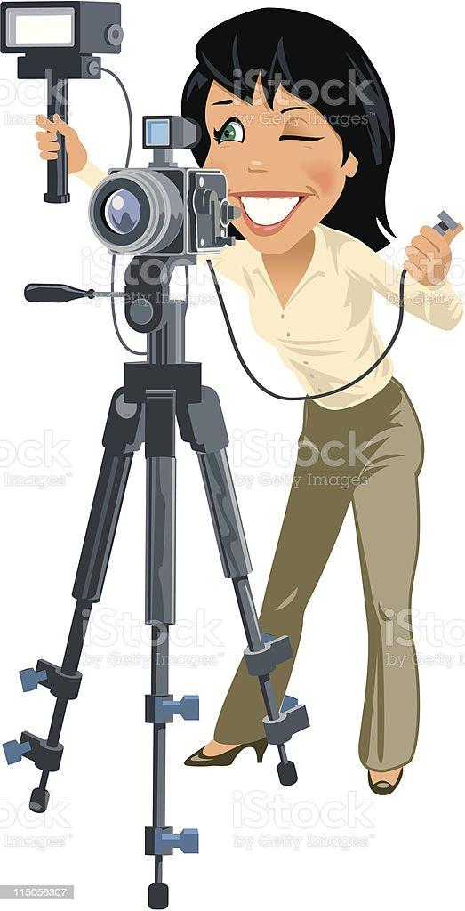 Female photographer vector art illustration