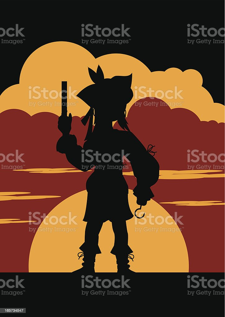 Female Pirate in Silhouette vector art illustration