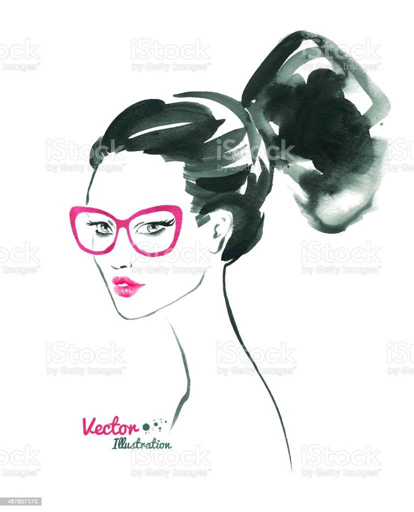 Female portrait. Modern hairstyle. vector art illustration