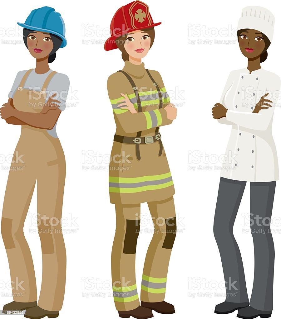Female Professions Icon Set vector art illustration