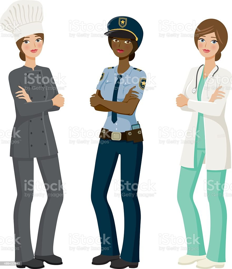 Female Professions Icon Set vector art illustration