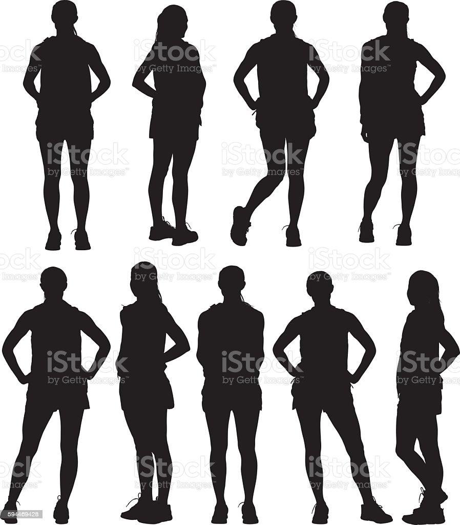 Female runner standing vector art illustration