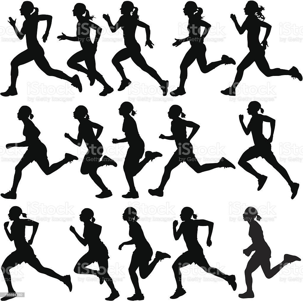 Female runners in silhouette vector art illustration